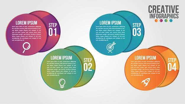 Moderne zeitleisten-entwurfsvorlage der infografik für unternehmen mit 4 schritten oder optionen