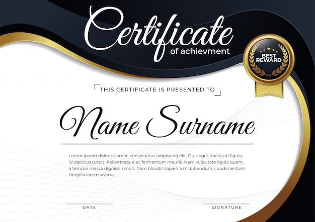 Moderne zertifikat-entwurfsvorlage,