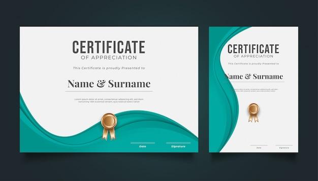 Moderne zertifikatsvorlage mit gewelltem papierschnitt