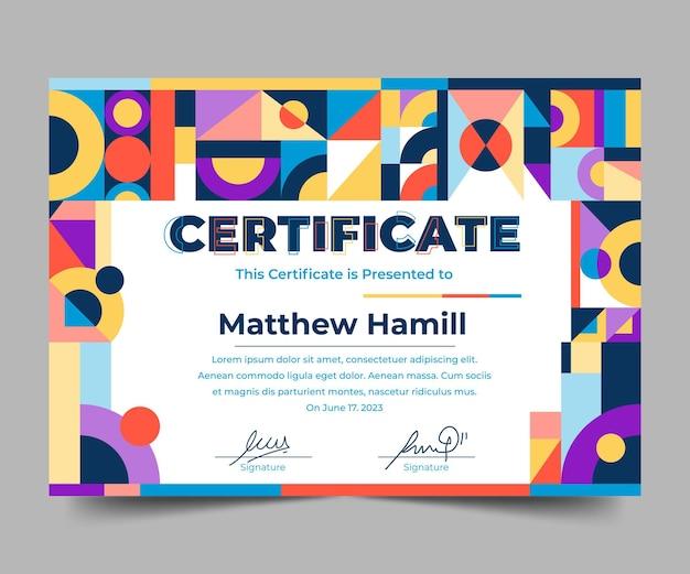 Moderne zertifikatvorlage des flachen designs design