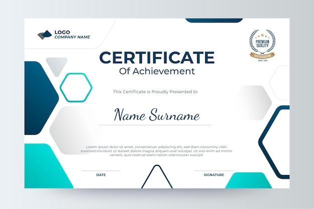 Moderne zertifikatvorlage mit farbverlauf
