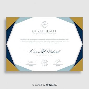 Moderne zertifikatvorlage mit flachem design