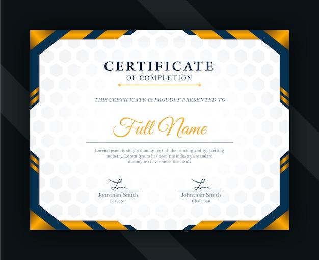 Moderne zertifikatvorlage mit goldenem farbverlauf