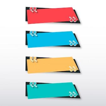 Moderne zitat-fahnen-schablone mit buntem design