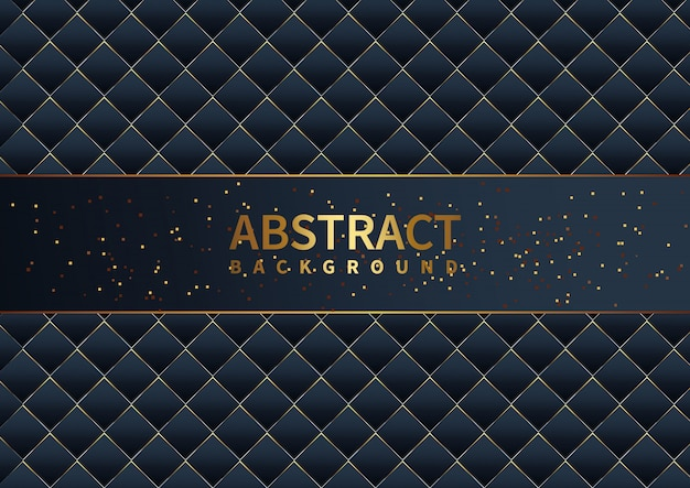 Moderne zusammenfassung der dunkelblauen schablone und des musters der luxussteigung mit goldenem funkelndekorationshintergrund