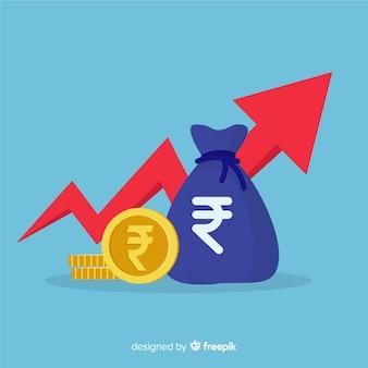 Moderne zusammensetzung der indischen rupie