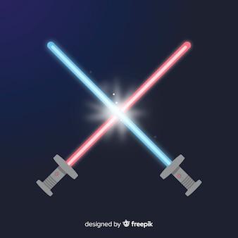 Moderne zusammensetzung mit zwei gekreuzten lichtschwert
