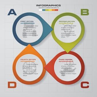 Modernen 4 optionen präsentationsgeschäft infografiken vorlage
