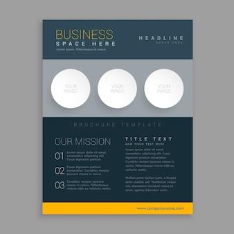 Modernen dunklen broschüre design in einfachen geometrischen formen