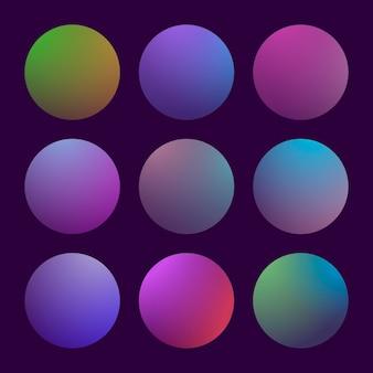 Moderner 3d-farbverlauf mit runden abstrakten hintergründen. bunte flüssige abdeckungen für kalender, broschüren, einladungen, karten. trendige weiche farbe. vorlage mit rundem farbverlaufsset für bildschirme und mobile app