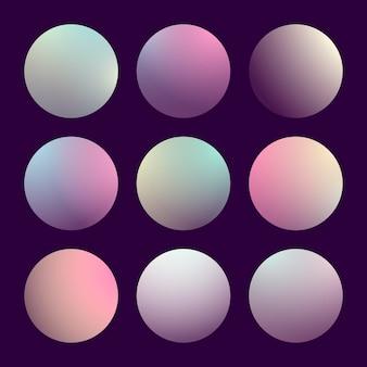 Moderner 3d-gradientensatz mit runden abstrakten hintergründen. bunte flüssige abdeckungen für kalender, broschüren, einladungen, karten. trendige weiche farbe. vorlage mit rundem farbverlauf für bildschirme und mobile app