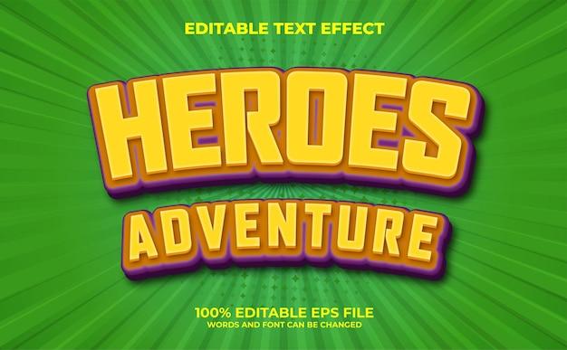 Moderner 3d heroes advanture bearbeitbarer texteffekt premium-vektor