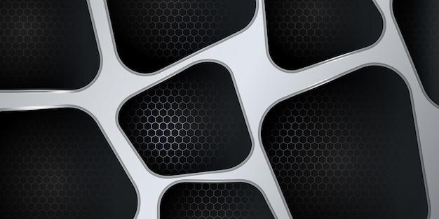 Moderner 3d schwarzer und silberner abstrakter metallischer hintergrund mit glänzender licht- und beschaffenheitsmusterdekoration.