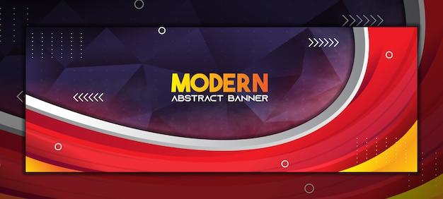 Moderner abstrakter bannerhintergrund mit farbverlauf rot und dunkelviolett low poly