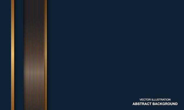 Moderner abstrakter blauer hintergrund mit goldenen linien