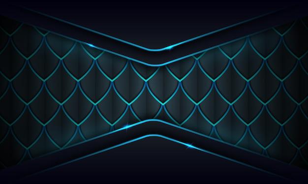 Moderner abstrakter dunkler hintergrund mit leuchtend blauen linien