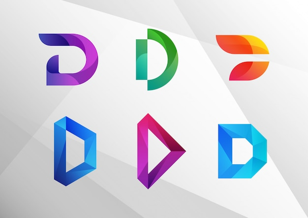 Moderner abstrakter farbverlauf d logo set
