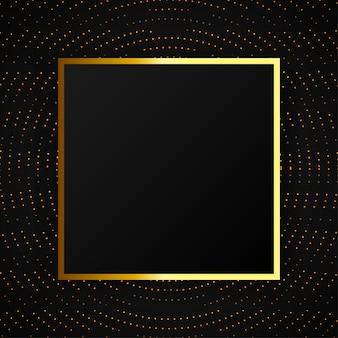 Moderner abstrakter halbtoneffekthintergrund mit goldenem rahmen