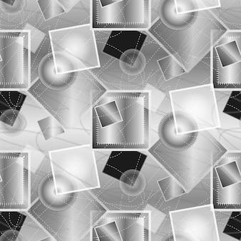 Moderner abstrakter hintergrund in silber mit geometrischen elementen