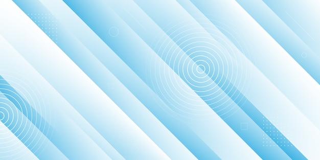 Moderner abstrakter hintergrund mit 3d diagonalen streifenelementen, memphis und papierschnittfluideffekten. blaue und weiße farbe.
