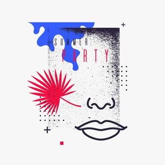 Moderner abstrakter hintergrund mit flachem artvektor-partyplakat