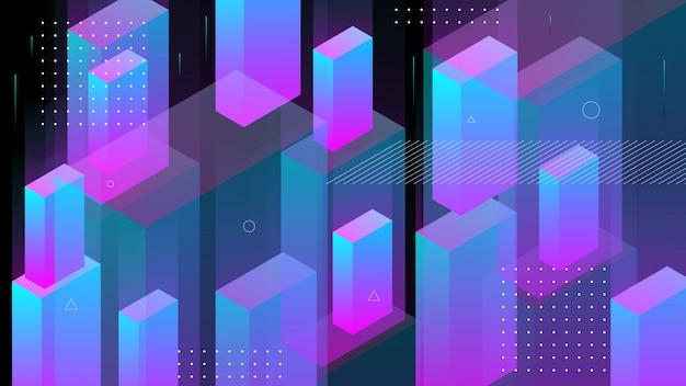 Moderner abstrakter hintergrund mit isometrischen elementlinien und -strahlen. .