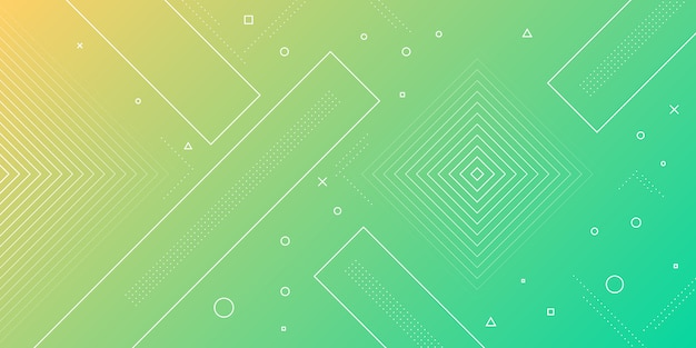 Moderner abstrakter hintergrund mit memphis-elementen in gelben und grünen verläufen und retro-themen für plakate, banner und website-landingpages.