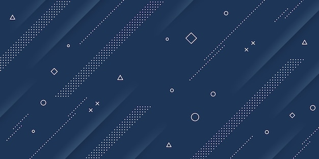Moderner abstrakter hintergrund mit memphis und papierschnittelementen und blauen pastellfarben im retro-stil für poster, banner und website-landingpages.