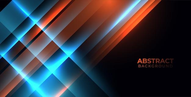Moderner abstrakter hintergrund mit orange und blau leuchtenden streifenart