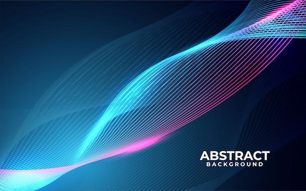 Moderner abstrakter hintergrund mit welligen leuchtenden linien