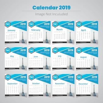 Moderner abstrakter kalender 2019