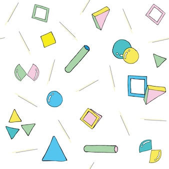 Moderner abstrakter nahtloser muster-memphis-stil. nahtlose textur mit geometrischen formen.