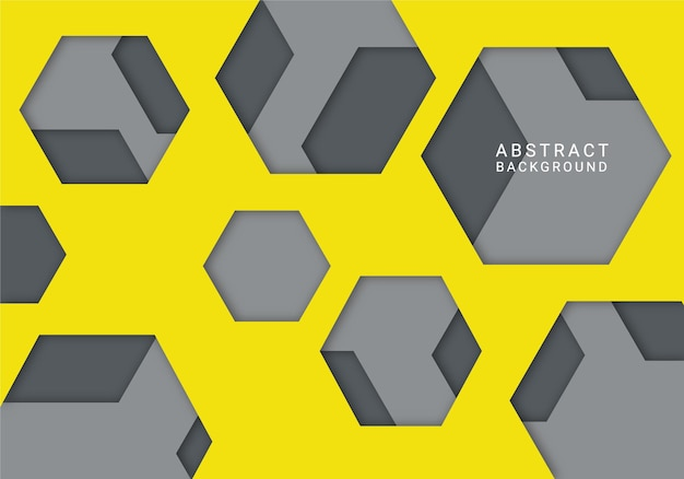 Moderner abstrakter sechseckhintergrund gelb und grau Premium Vektoren