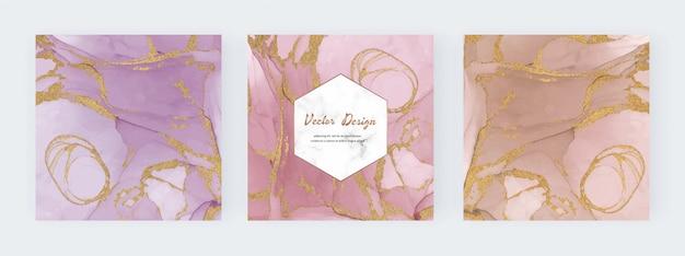 Moderner abstrakter tintenhintergrund mit geometrischem marmorrahmen