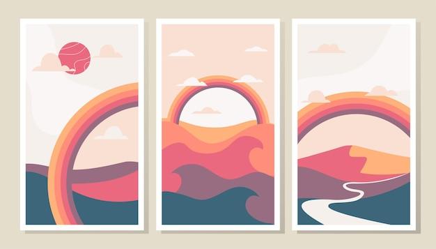 Moderner abstrakter zeitgenössischer landschaftshintergrund