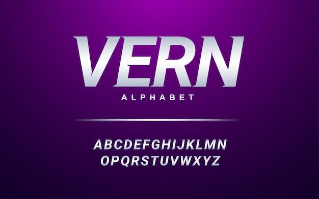 Moderner alphabet-guss. silberner guss der modernen art der typografie eingestellt für logo