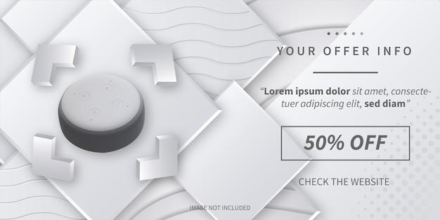 Moderner angebot-informationsverkauf mit abstraktem hintergrund 3d