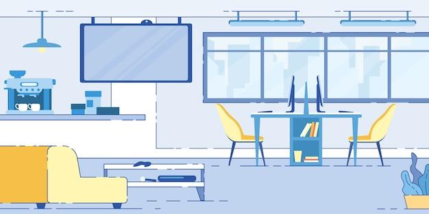 Moderner arbeitsplatz oder coworking area open space loft