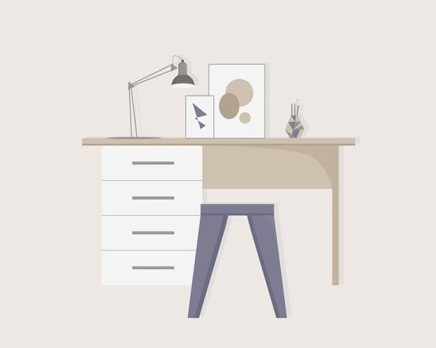 Moderner arbeitsplatz zu hause. vektor-illustration.
