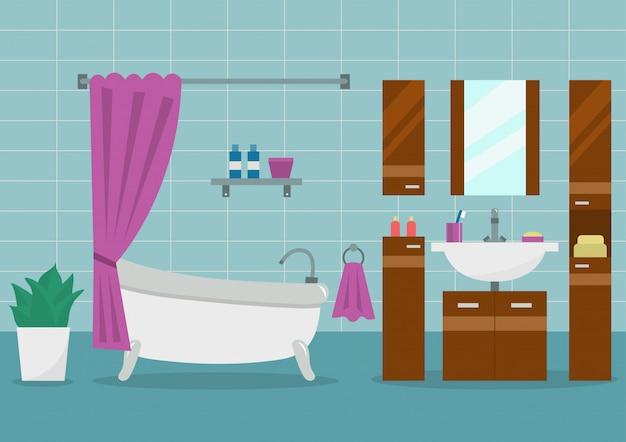 Moderner badezimmerinnenraum mit möbeln. flache vektor-illustration.