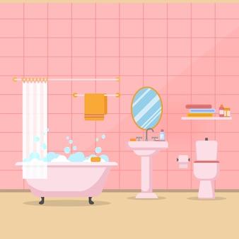 Moderner badezimmerinnenraum mit möbeln im flachen artvektor