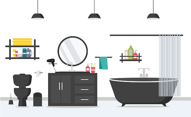 Moderner badezimmerinnenraum mit möbeln in der flachen art. bad, waschbecken, toilette, spiegel. morgenprogrammraum.