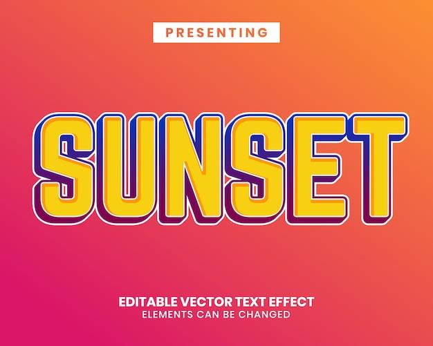 Moderner bearbeitbarer texteffekt im sonnenuntergangsstil mit lebendiger farbe
