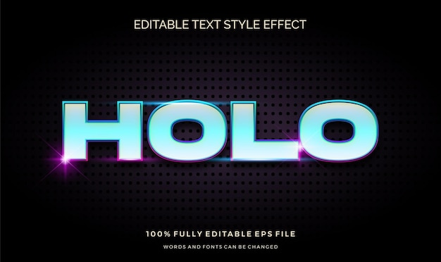 Moderner bearbeitbarer textstileffekt mit heller farbe und glänzendem blau