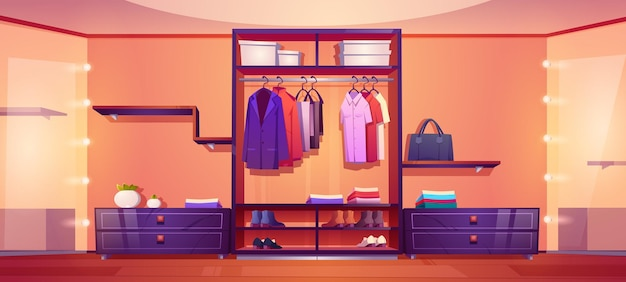 Moderner begehbarer kleiderschrank mit herrenkleidung