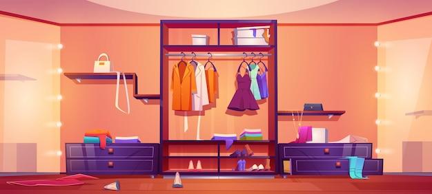 Moderner begehbarer kleiderschrank mit unordentlicher frauenkleidung und schuhen auf garderobenregalen und bodenkarikaturillustration