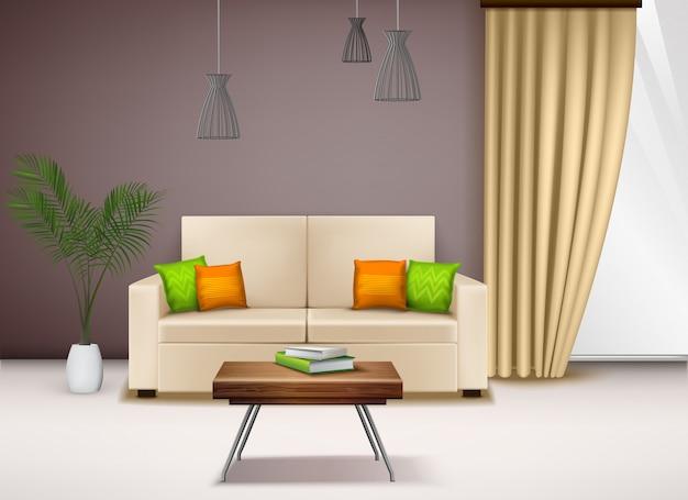 Moderner bequemer beige liebessitz mit realistischer illustration der fantastischen hellen kissen-schönen hauptinnenausstattung-ideen