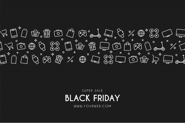 Moderner black friday-hintergrund mit ikonen