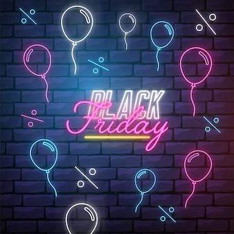 Moderner black friday-hintergrund mit neonlichtern