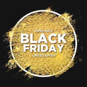 Moderner black friday sale mit goldenem glitzerpinsel